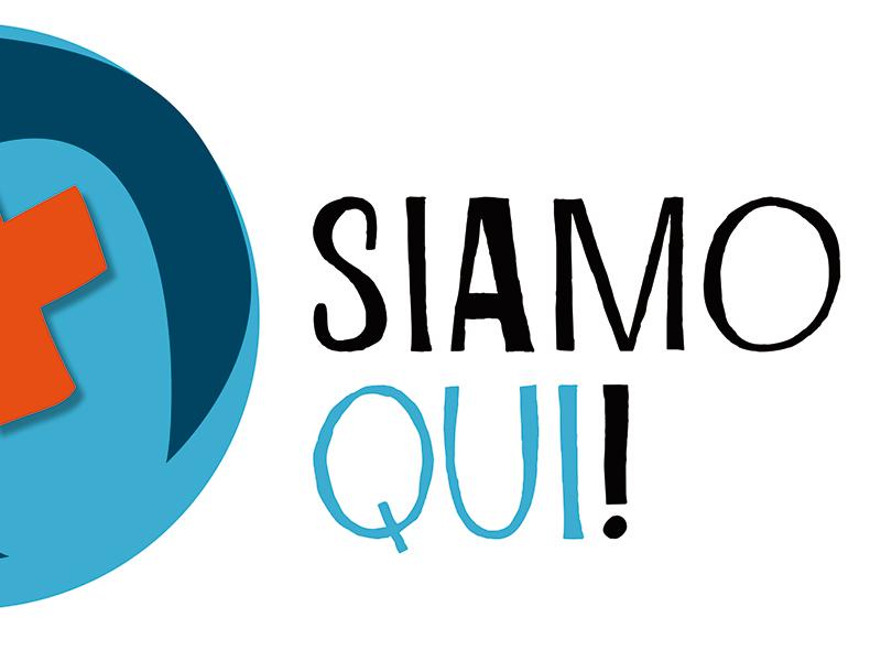Logo «Siamo qui!» orizz scritta - Sito