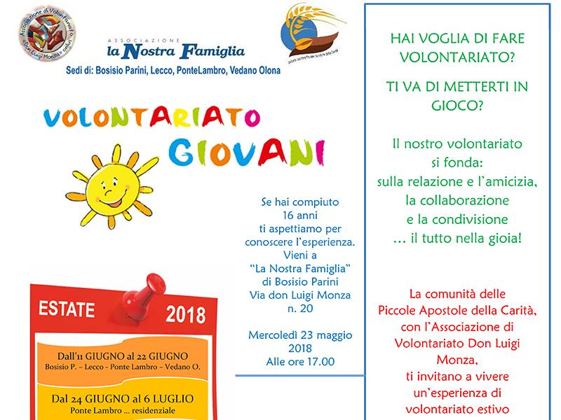 La Nostra Famiglia - Volontariato estivo giovani 2018