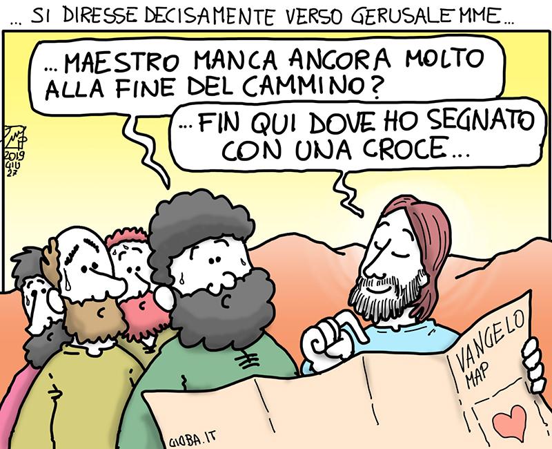 Camminare - vignetta di don Giovanni Berti