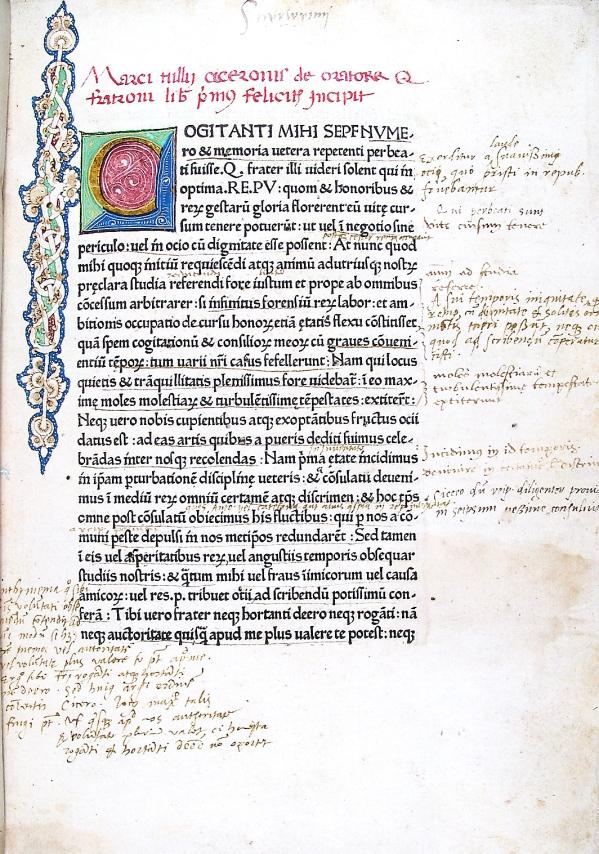 Cicerone Subiaco 1465 De Oratore