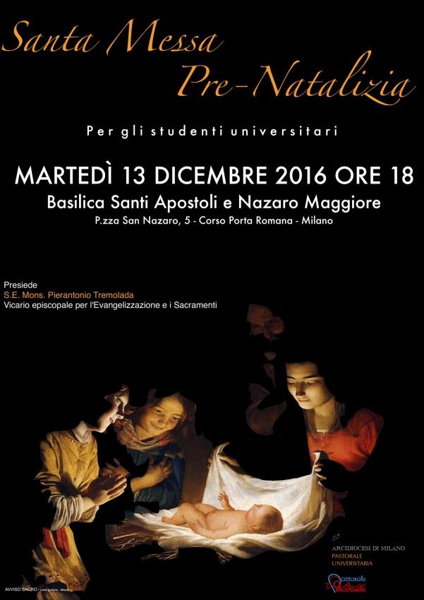 Locandina - S. Messa pre-Natalizia per gli universitari 2016