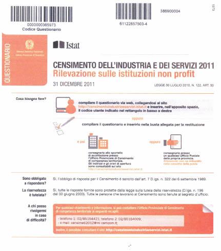 Modello censimento industri ISTAT