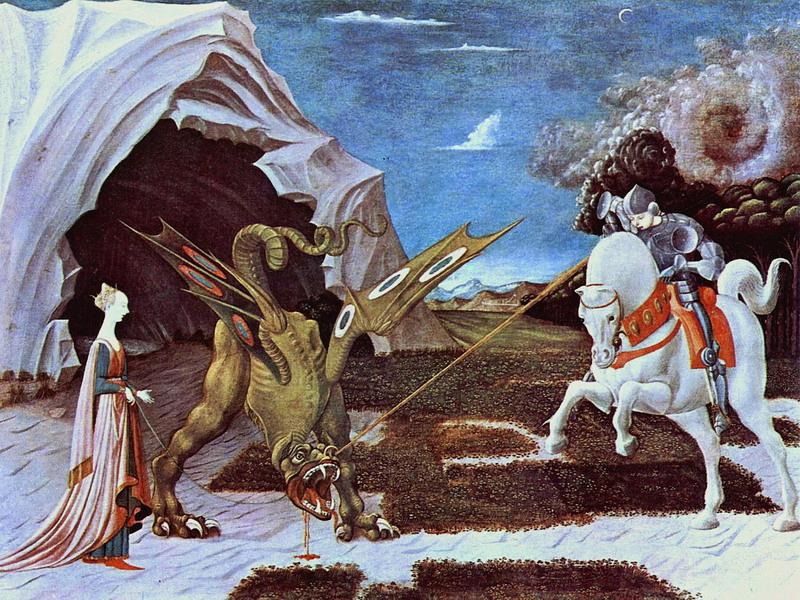 San Giorgio e il drago nel celebre dipinto di Paolo Uccello.