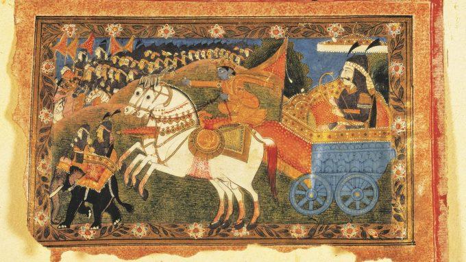 Krsna e Arjuna partono per la battaglia_CS