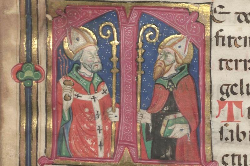 Capolettera miniato con i santi Ambrogio e Agostino, da Salterio Ambrosiano del sec. XV (1420), Biblioteca Ambrosiana, A 109 inf., f. 1r.