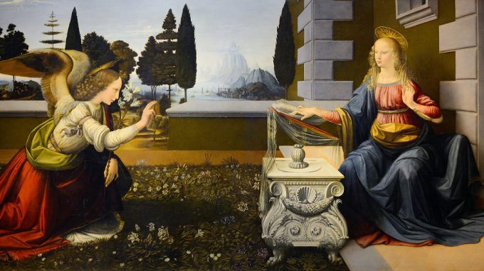 Leonardo da Vinci, Annunciazione, 1472-1475, Firenze, Uffizi