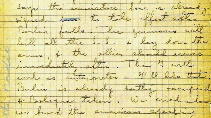 La pagina olografa del Diario di guerra in cui è citato Enrico Mattei