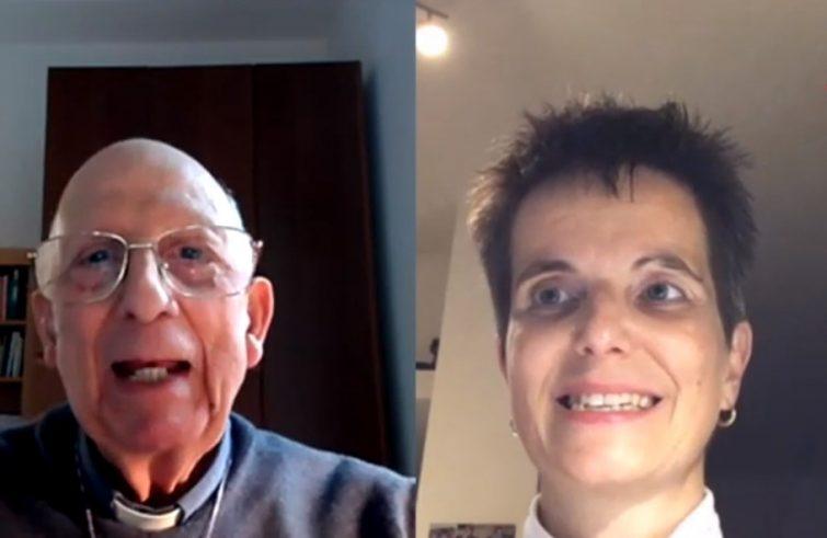 Padre Sorge e Chiara Tintori durante una puntata dei loro colloqui sulla politica trasmessi da Ets. Sotto un selfie e la copertina del libro