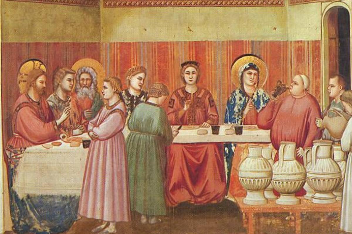 Le Nozze di Cana, affresco di Giotto nella Cappella degli Scrovegni di Padova