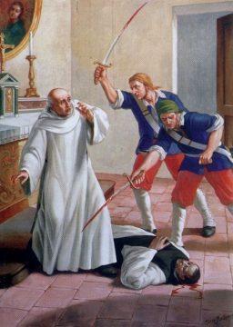 Il martirio dei beati Albertino Maisonade e Domenico Zawrel in un dipinto di Mario Barberis, conservato nel museo dell'abbazia di Casamari