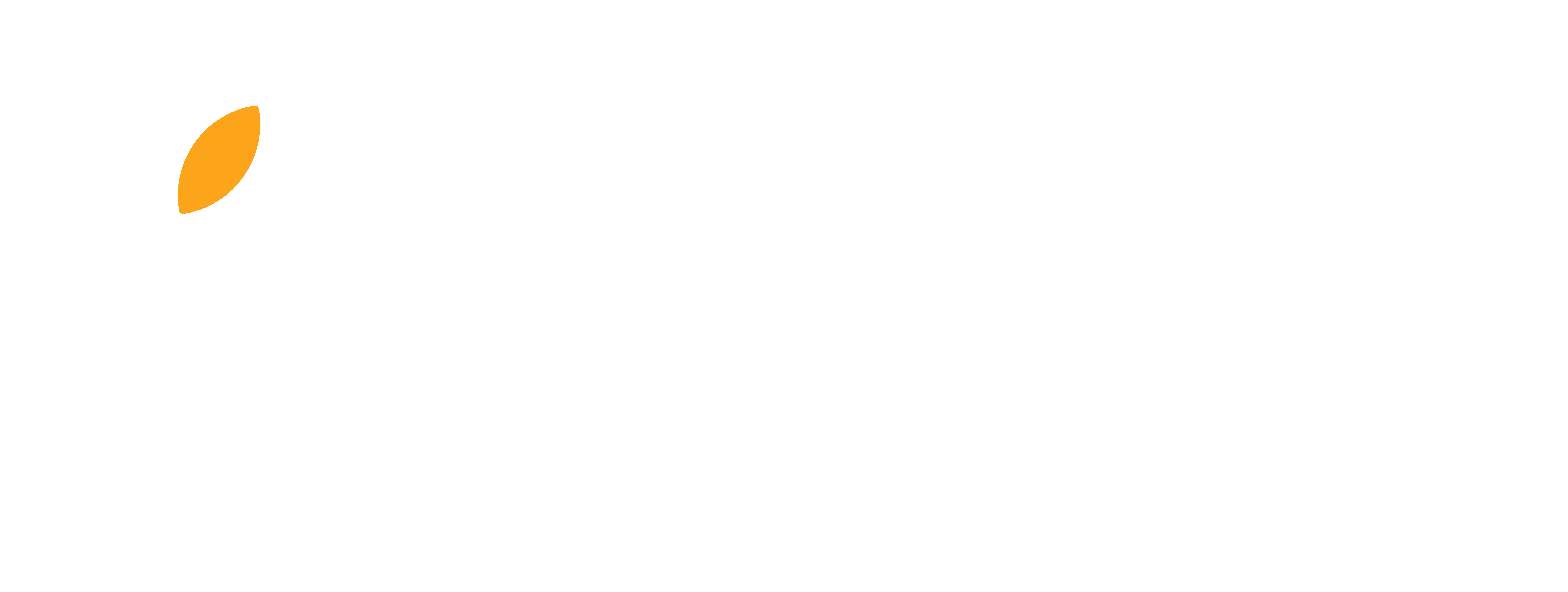 Logo bianco_foglia gialla_sottotitolo